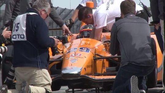 Fernando Alonso's McLaren breaks again, in practice for Spanish GP