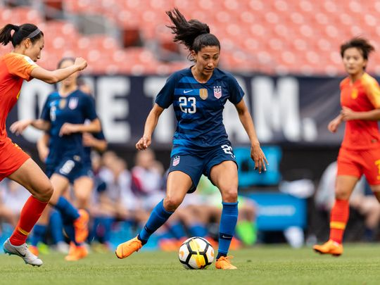 Christen Press of the United States looks for a pass